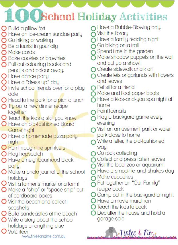 school holidays activities: 100 ideas