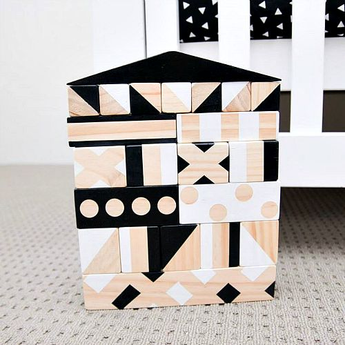 Best Construction Toys: Wooden Toys Large Black and White House Building Blocks Collection