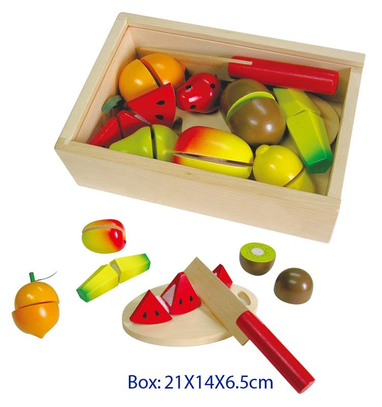 Kids Wooden Toys Play Food Fruit Cutting Set with Box