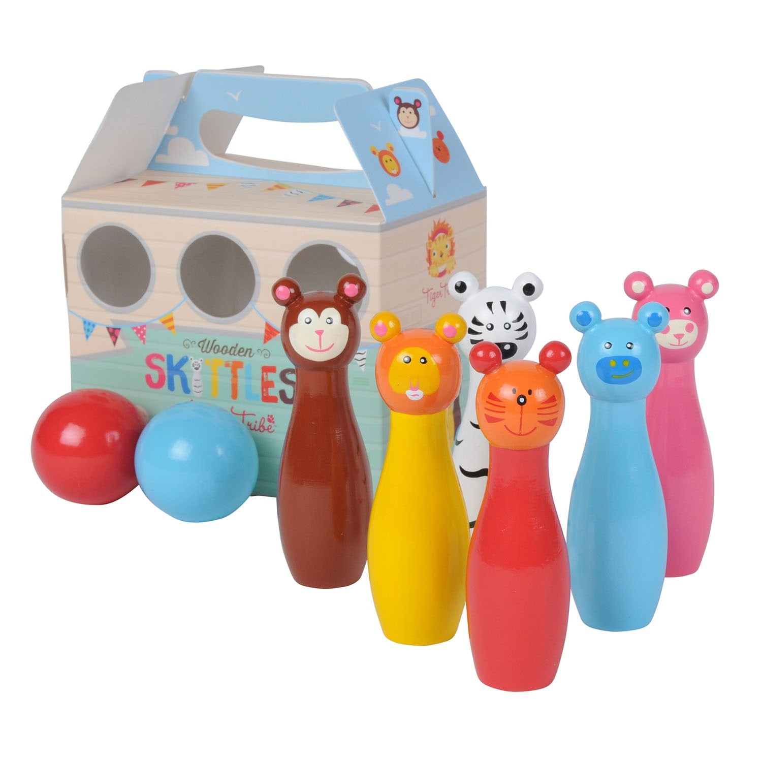 Kids Wooden Toys Tiger Tribe Animal Skittles