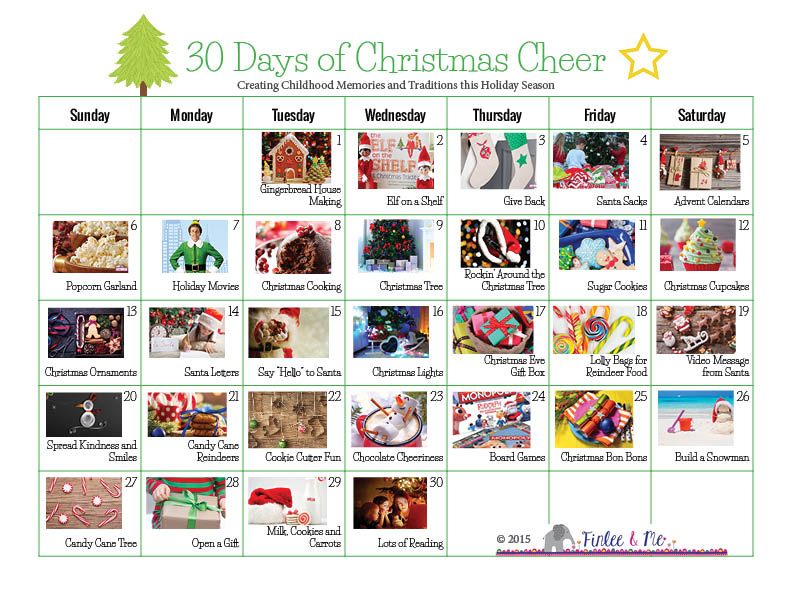 30 Days of Christmas Cheer Holiday Traditions Calendar