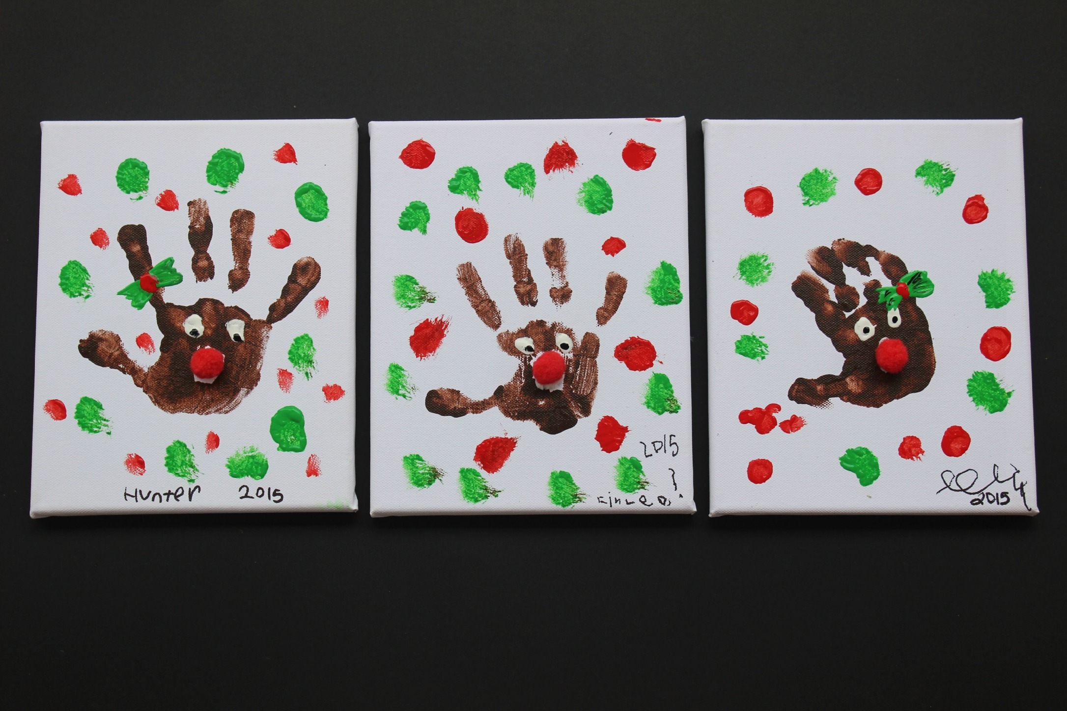 Easy Christmas Craft Idea For Kids Rudolph Handprints Finlee Me