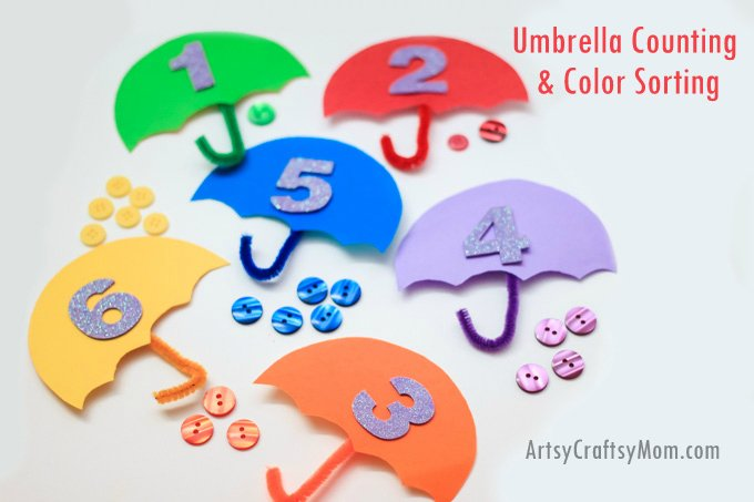 30 Days 30 Ways Connect with Kids Umbrella-Counting-Color Sorting Day 17