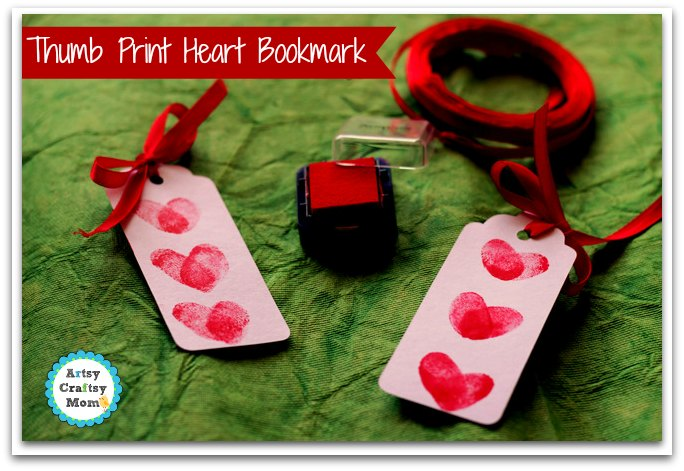 30 Days 30 Ways to Connect with Kids Thumbprint Heart Bookmark Day 10