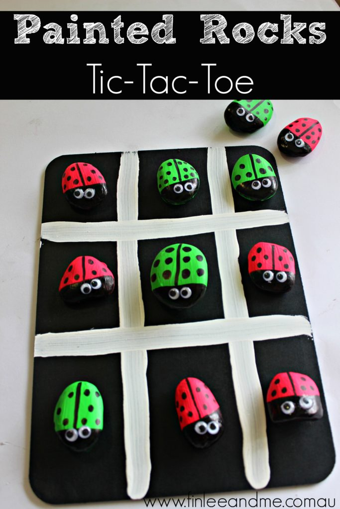 painted rocks tic tac toe for kids