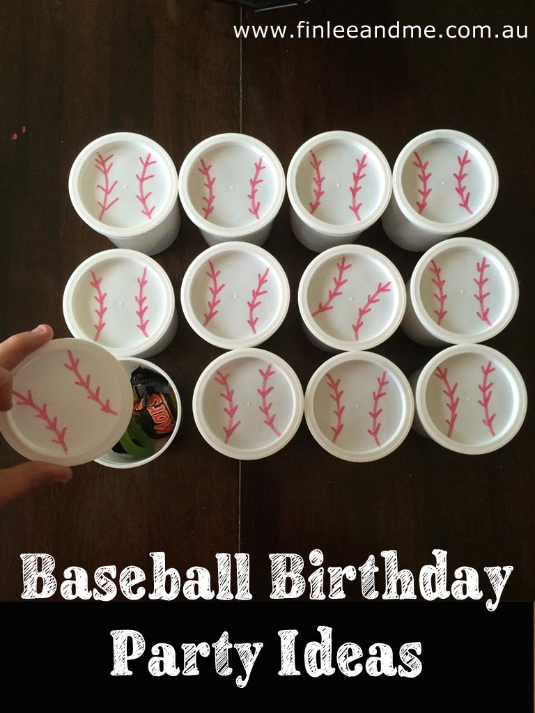 Baseball birthday party ideas lolly cups from Finlee and Me