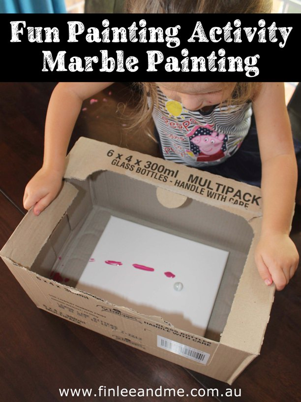 Fun painting activity with marbles and Finlee and Me
