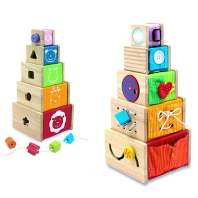 Artiwood – Wooden Toys – 5 Activity Stackers
