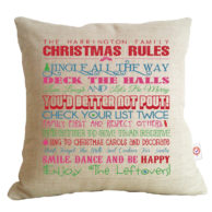 family christmas rules cushion