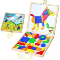 Finlee and Me – Wooden Toys – Magnetic Shapes Build a Picture Set