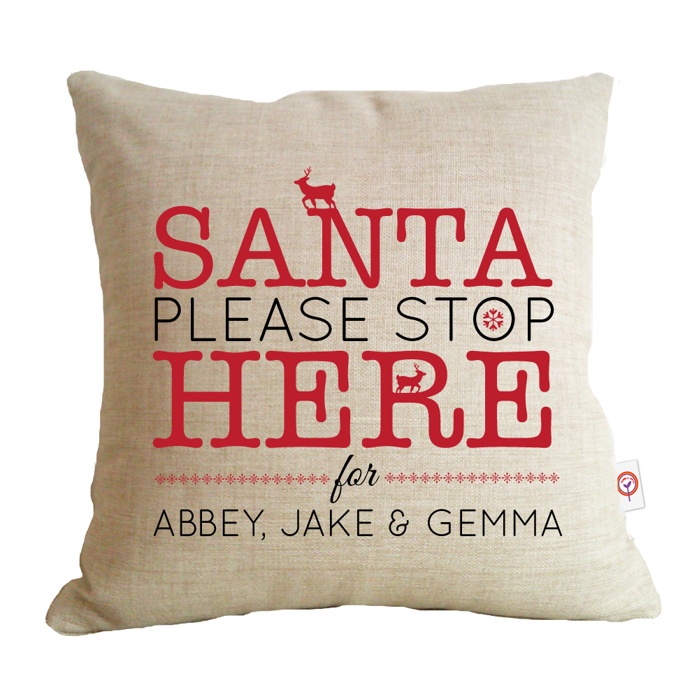 santa stop here cushion