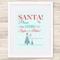 santa stop here sign - green