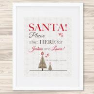 santa stop here print - taupe