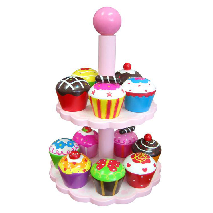 Finlee and Me- Wooden Kids Kitchen- Play Food {Cupcakes and Stand}