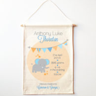 elephant-birth-print-wall-banner