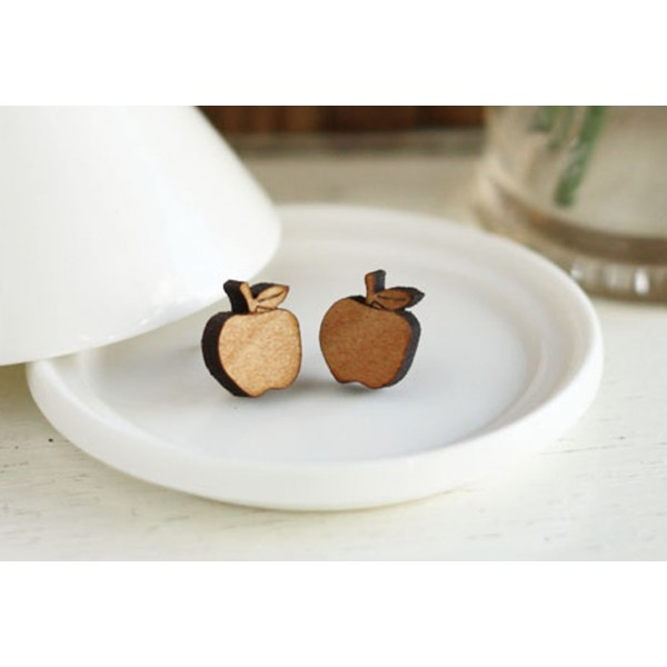apple-earrings-wooden