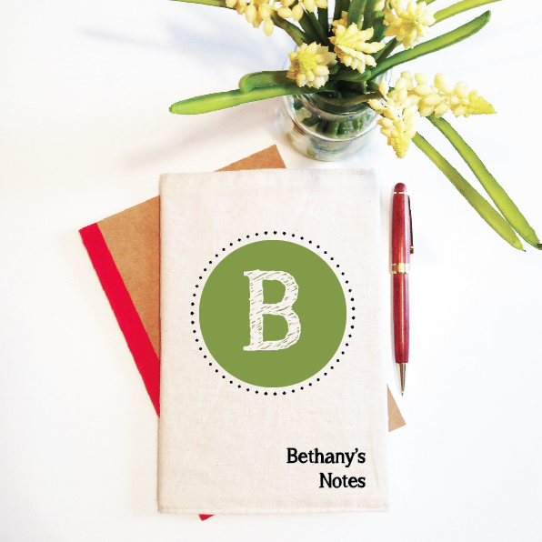 personalised-notebook-and-reusable-cover-initial-monogram-green