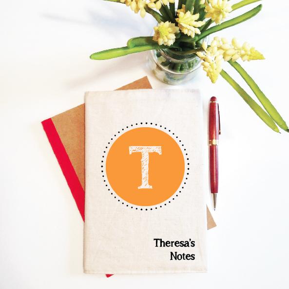 personalised-notebook-and-reusbale-cover-initial-monogram-orange