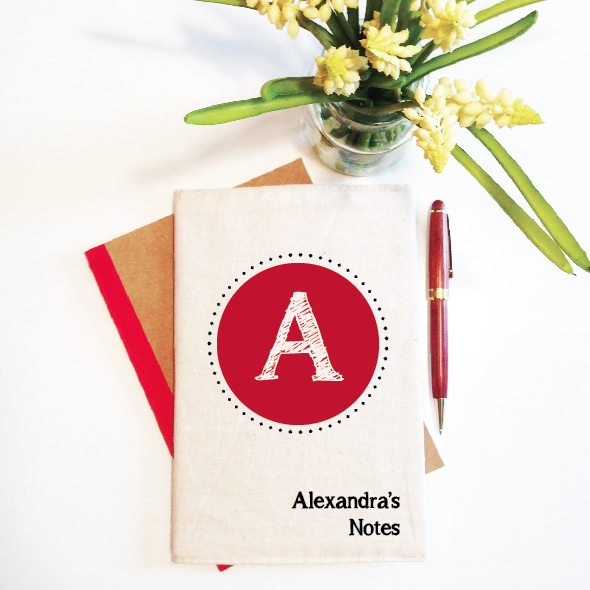 personalised-notebook-and-reusable-cover-initial-monogram-red