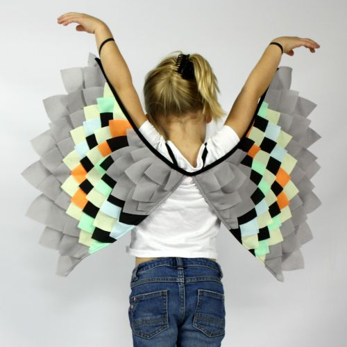 Kids Costumes Dress Up Rainbow Bird Wings NEON