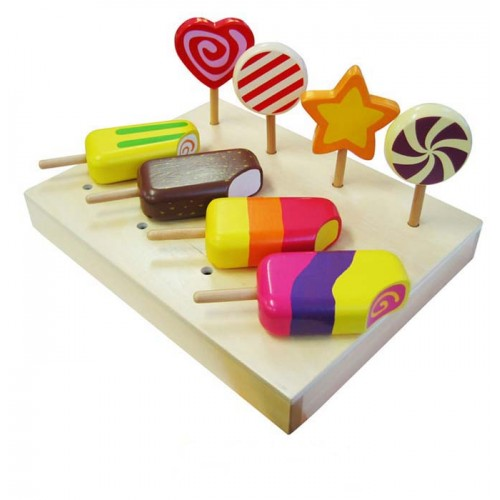 wooden play food ice cream and lollipops