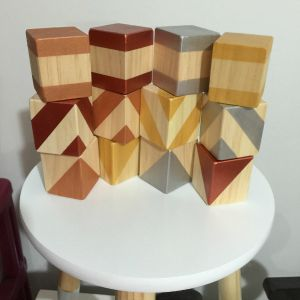 Wooden Toys Metallic Coloured Building Blocks Set