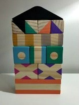 Wooden Toys Small House COloured Building Blocks Collection