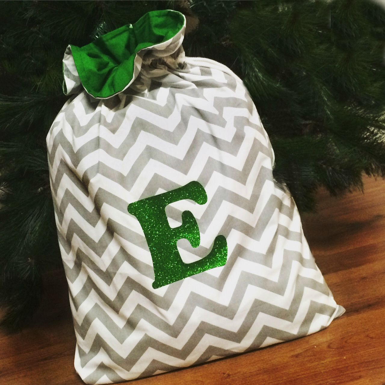 Christmas Decor Santa Sacks Chevron Grey