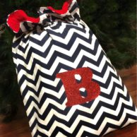 Christmas Decor Santa Sacks Navy Chevron