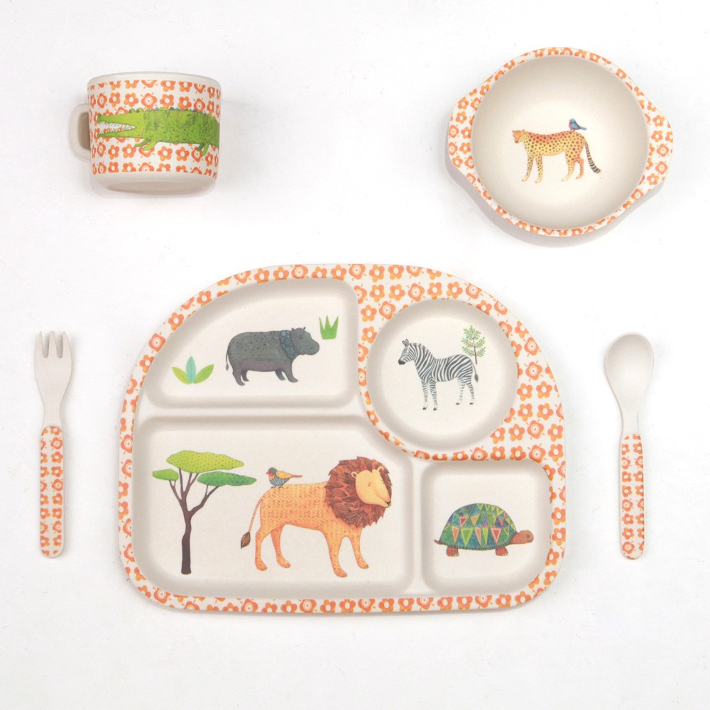 Kids Dinnerware Bamboo Dinner Set On Safari  sc 1 st  Finlee and Me & Kids Dinner Set |Bamboo Dinnerware | Finlee and Me