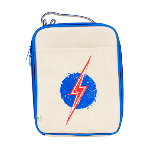 Apple and Mint Kids Lunchboxes Reusable Lunch Bag Lightning Bolt Deep Blue