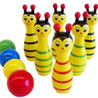 Finlee and Me Wooden Toys Bowling Bees Skittle Game