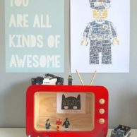 Finlee and me Kids room Decor Shadow Boxes TV Red