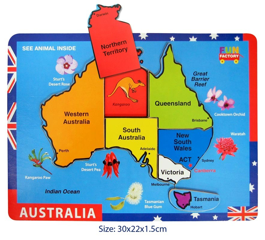 australia map wooden jigsaw puzzle fun_factory_wooden_raised_australian_puzzle