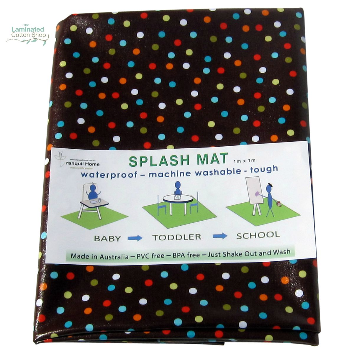 The Laminated Cotton Shop- Messy Mat- High Chair Splash Mat {Chocolate Freckles}