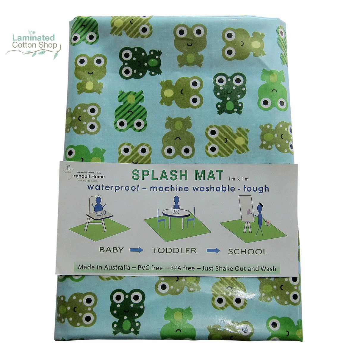 The Laminated Cotton Shop - Messy Mat- High Chair Splash Mat {Frog}