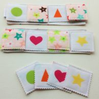 Two in One Fabric Game: Memory Game & Bingo – Pink Stars