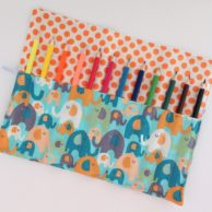 Finlee and Me – Kids Travel Toys – Pencil Roll { Blue Elephants}