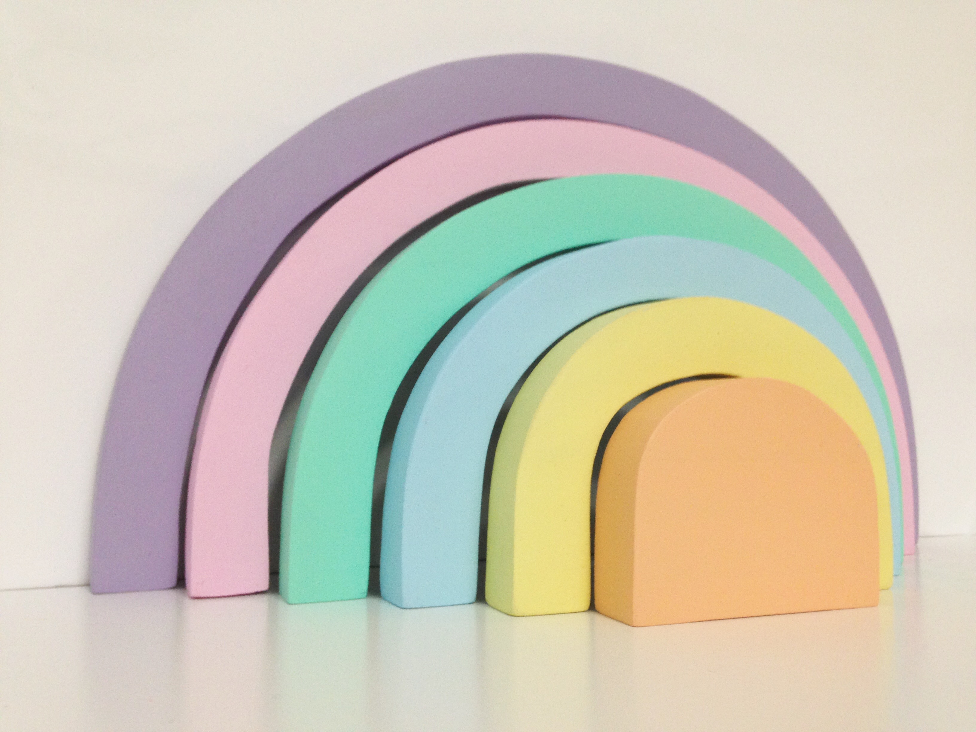 Educational Toys Wooden Rainbow Pastel Puzzle