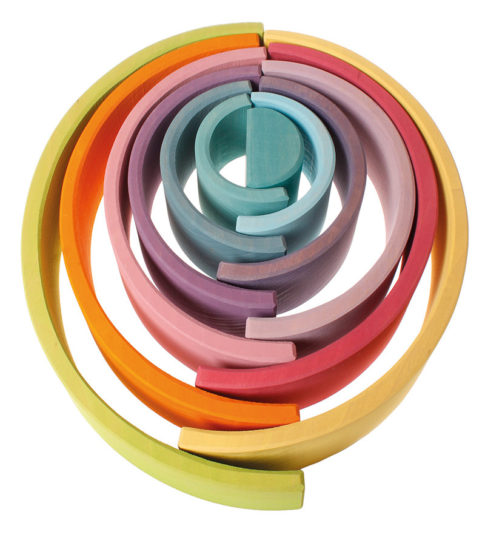Grimms – Educational Wooden Toys – Pastel Rainbow Stacking Tunnel