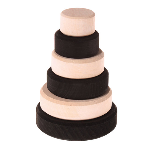 Grimms - Educational Toys – Monochrome Small Stacking Conical Tower