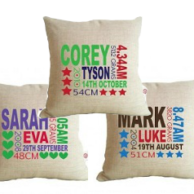 Personalised Birth Detail Cushions for Baby
