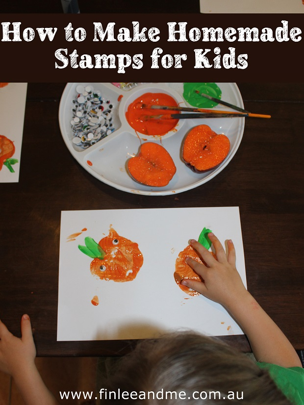 Making homemade stamps for kids with apples, Finlee and Me