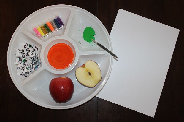 Materials needed to make homemade stamps for kids with Finlee and Me