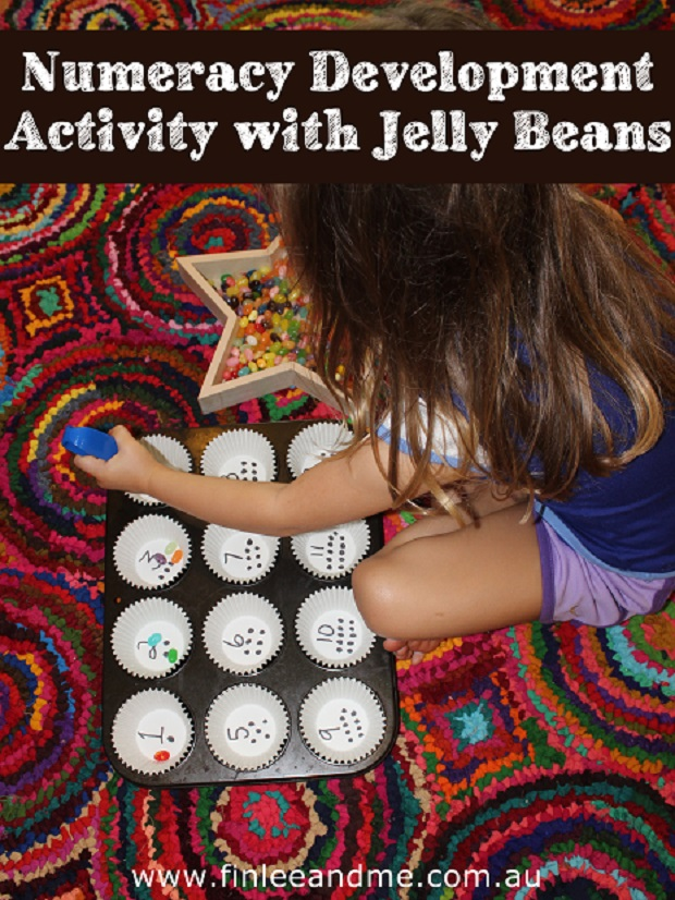 Numeracy development activity with jelly beans and Finlee and Me