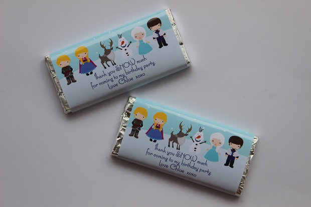 Personalised Frozen chocolate wrappers Finlee and Me