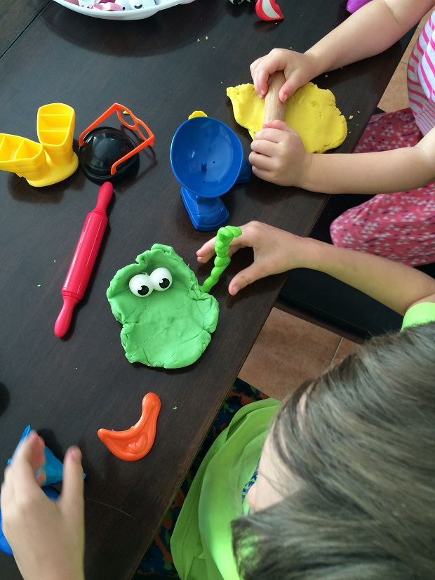 Playdough activities making monsters Finlee and Me