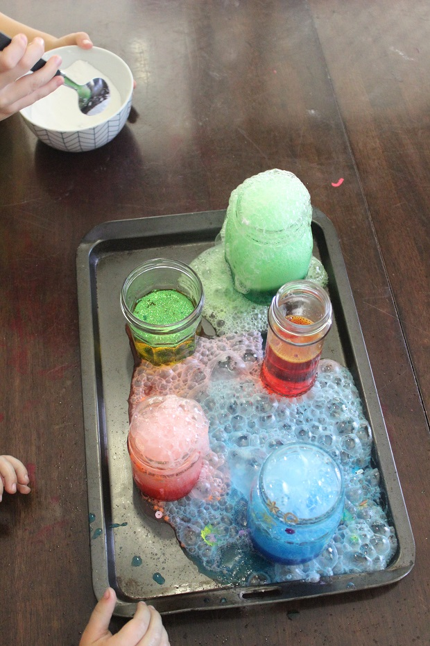 Volcano science experiment with Finlee and Me