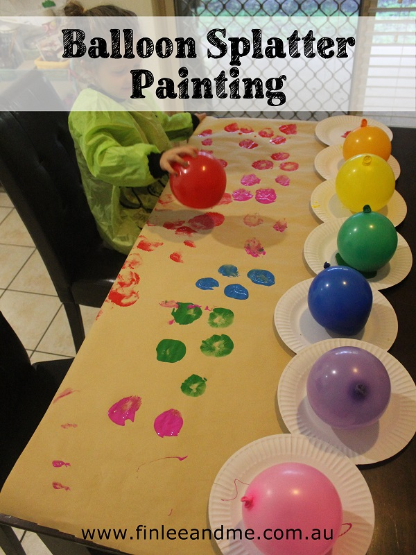balloon splatter painting with Finlee and Me