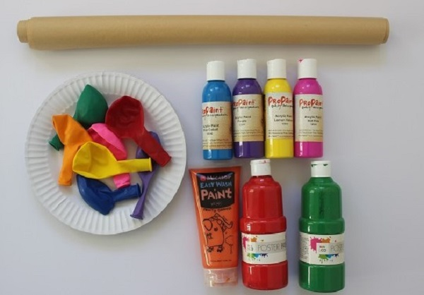 materials needed for balloon splatter painting with Finlee and Me